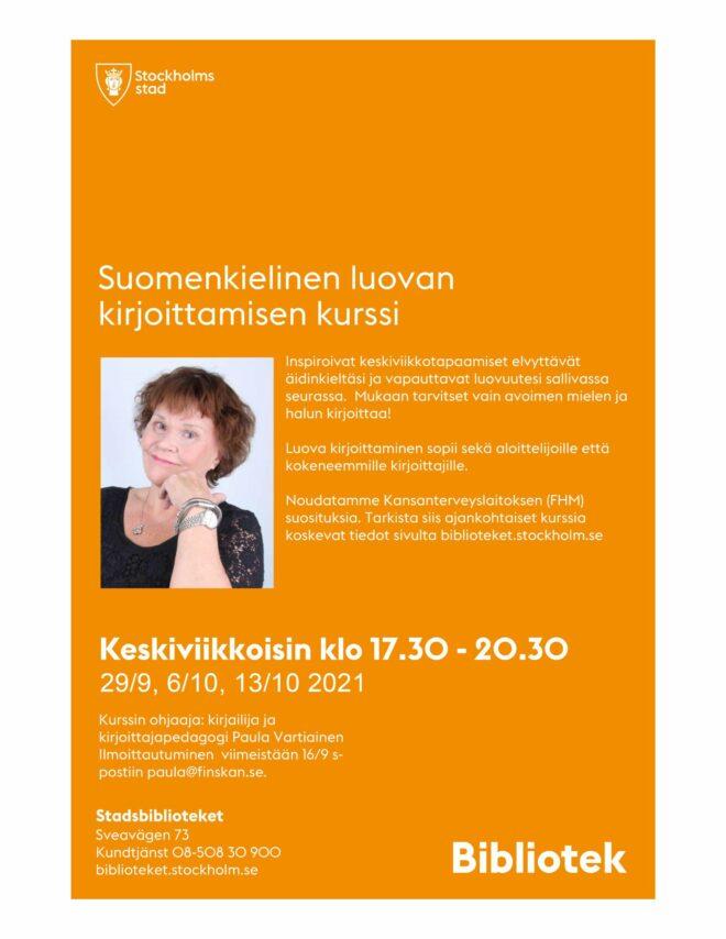 Finsk Kurs i kreativt skrivande 2021